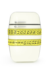 refrigerator, tied at the waist tailor measuring tape