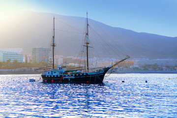 Los Cristianos harbor port sailboat sunrise in Adeje