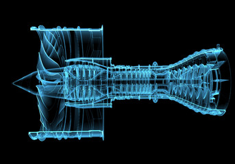 Jet engine turbine (3D xray blue transparent)