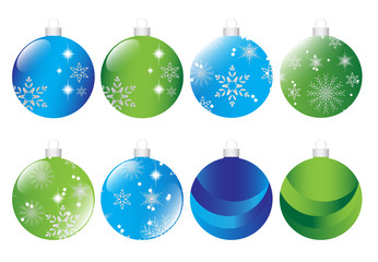 Set of christmas green and blue baubles  Vector