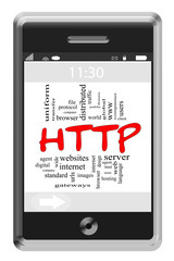 HTTP Word Cloud Concept on Touchscreen Phone
