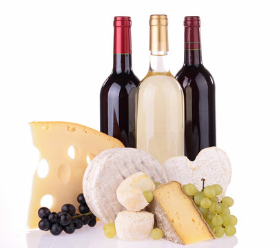 wine and assortment of cheese