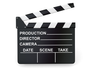 Movie industry. Clapperboard on white background.