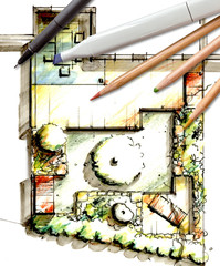 Gartenplan - Zeichnung