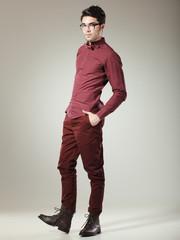 handsome male model dressed elegant looking serious