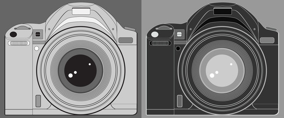 set two isolated modern photo camera silhouette