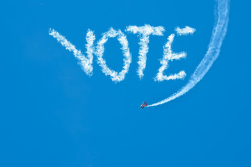 Biplane Sky Writing Vote