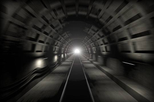 Subway tunnel. View from the driver cabin with motion blur