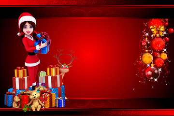 santa girl standing with reindeer and lots of gifts