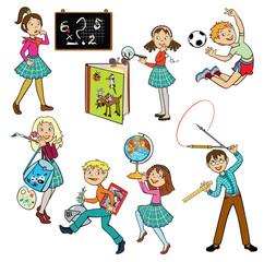 set with happy school children