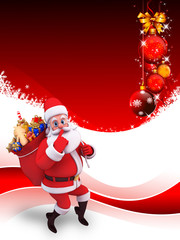 santa claus on red background