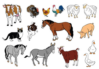 set of farm animals isolated on white