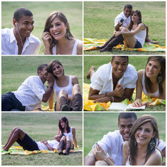 Giovane, coppia al parco ripresa in una serie di foto.