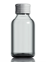 Medical bottle of clear glass.