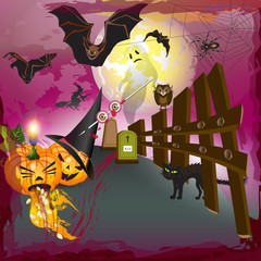 Scary halloween with pumpkins, ghost, bats and blood