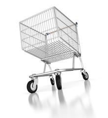 3d shopping cart on mirror floor