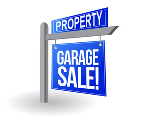 Garage sale blue sign illustration design over white