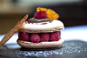 Foto auf Gartenposter Gericht bereit Macaron, gâteau, pâtisserie, dessert, framboise, gourmet
