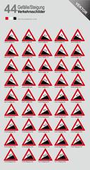 Verkehrszeichen 108 Gefälle 110 Steigung