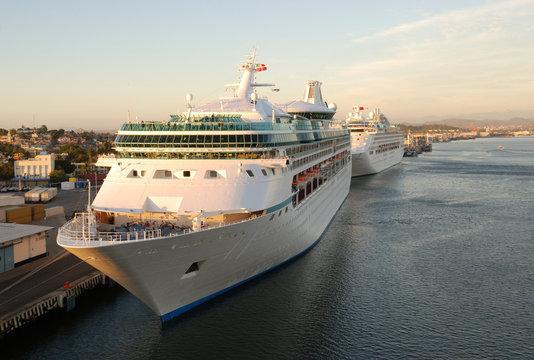 Cruise Ship in Harbor at Mazatlan, Mexico.