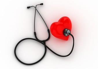 stetoscopio con cuore su sfondo bianco