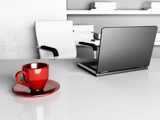 red cup on the desktop