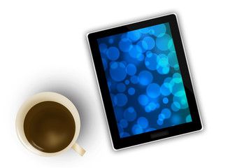computer tablet of a businessman and coffee