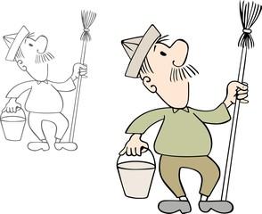 Yard keeper with bucket and broom