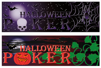 Two Poker halloween banners. vector illustration