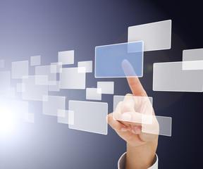 Finger choosing square from digital menu