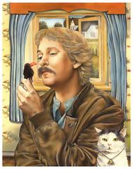Portrait.Ein Mann mit Stofftier