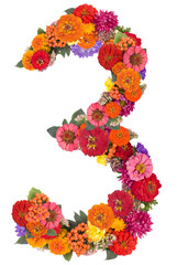 number 3 made from flowers