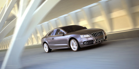 rolling luxury sport sedan car 3d illustration