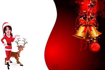 santa girl pointing golden jingle bell on red background
