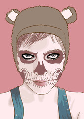 Halloween make up. Vector illustration.Cute zombie girl.
