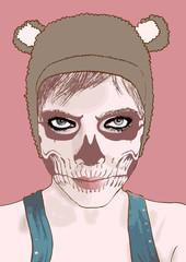 Halloween make up. Vector illustration.Cute zombie girl.