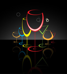 Cocktail glass abstract illustration