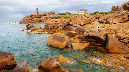 Fototapete - Pink Granite Coast. Brittany, France