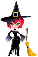 Funny witch. Cartoon and vector isolated character