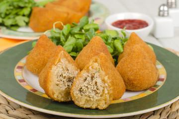 Coxinha - Brazilian deep fried snacks stuffed with chicken