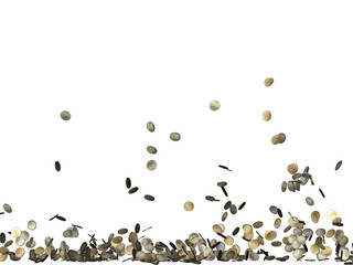 euro coins falling isolated on white background_6