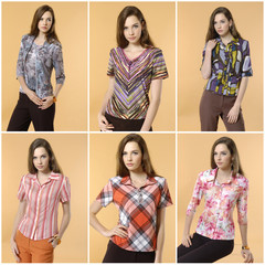 Collage of fashion model posing on orange background