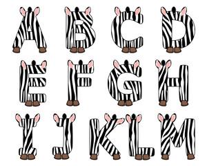 zebra alphabet set from A to M