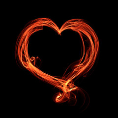 abstract glowing fiery heart on a black background