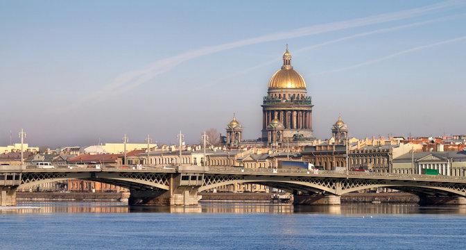 Classical view of Neva river in Saint-Petersburg, Russia