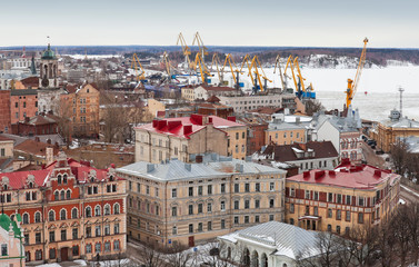 Panorama of old Vyborg town