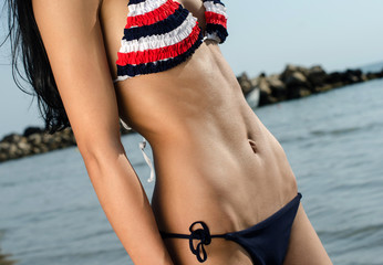Woman with perfect abs