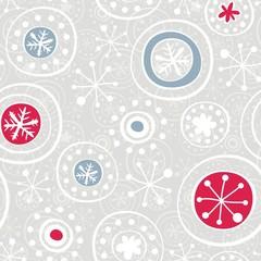 białe czerwone i niebieskie płatki śniegu na szarym tle