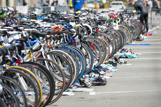 bicycle waiting at triathlon