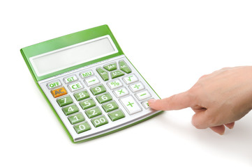 calculator and hand isolated on a white background